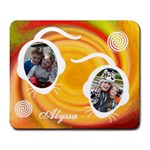Large Mousepad - Red & Orange Swirl