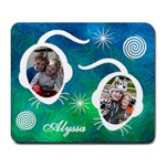 Large Mousepad - Blue & Green Swirls
