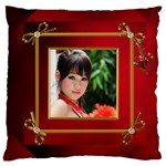 Red and Gold Framed Large Cushion Case - Large Cushion Case (One Side)