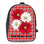 Red and White Daisy Personalized Backpack Bookbag - School Bag (Large)