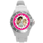 Hot Pink/White Photo Frame Watch - Round Plastic Sport Watch (L)