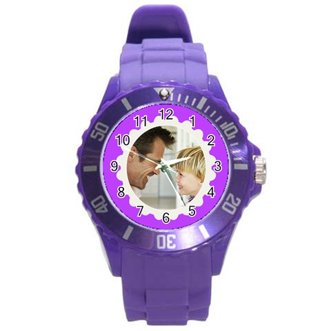 Purple/white Photo Frame Watch By Angela   Round Plastic Sport Watch (l)   Rr2ykaqrneip   Www Artscow Com Front