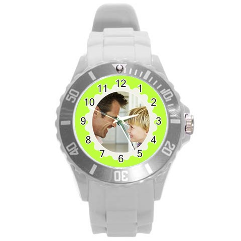 Chartreuse Green/white Photo Frame Watch By Angela   Round Plastic Sport Watch (l)   H7nrjunyafly   Www Artscow Com Front