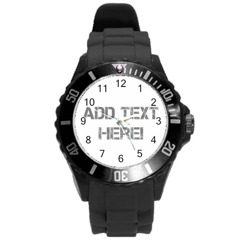 White/gray Personalized Watch By Angela   Round Plastic Sport Watch (l)   B3h3auues5kw   Www Artscow Com Front