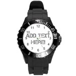 White/Gray Personalized Watch - Round Plastic Sport Watch (L)