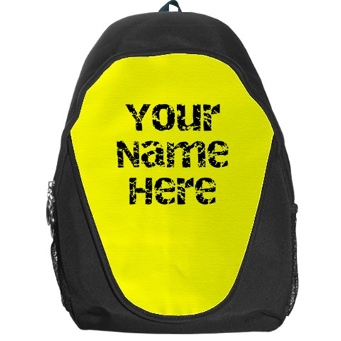Bright Yellow Personalized Name Backpack Rucksack By Angela   Backpack Bag   G72eqsleb5tf   Www Artscow Com Front