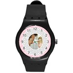 Lacy Pink/White Photo Watch - Round Plastic Sport Watch (M)