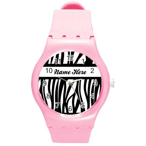 Personalized Name Zebra Stripes Watch By Angela   Round Plastic Sport Watch (m)   6pyd7cgq5zgb   Www Artscow Com Front