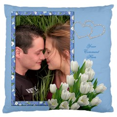 Tulips On Blue Large Cushion Case (2 Sided) By Deborah   Large Cushion Case (two Sides)   Qwuna3d3z3dw   Www Artscow Com Front