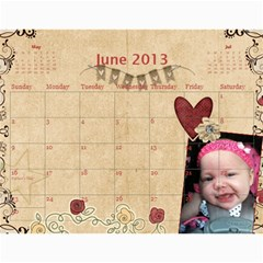 Ashlyn By Rainey   Wall Calendar 11  X 8 5  (12 Months)   Cowckh9lping   Www Artscow Com Jun 2013