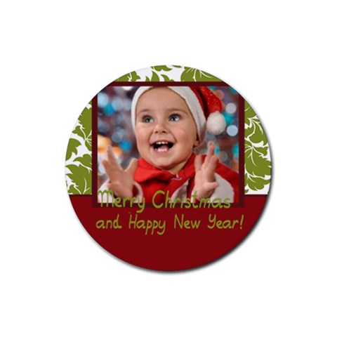 Xmas By Man   Rubber Round Coaster (4 Pack)   Pw9p1bt90gif   Www Artscow Com Front