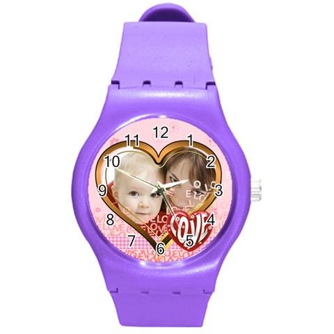 Love By Joely   Round Plastic Sport Watch (m)   1o0ch0ewsu10   Www Artscow Com Front