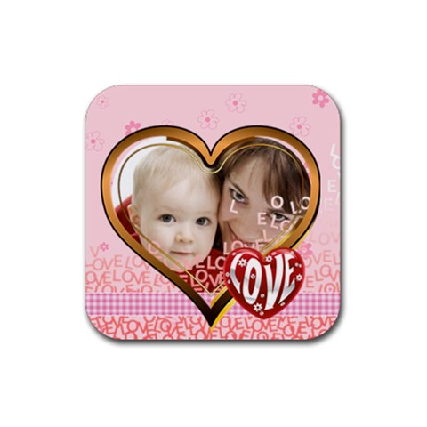 Love By Joely   Rubber Square Coaster (4 Pack)   Z69wl0aejy1a   Www Artscow Com Front