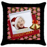 xmas - Throw Pillow Case (Black)