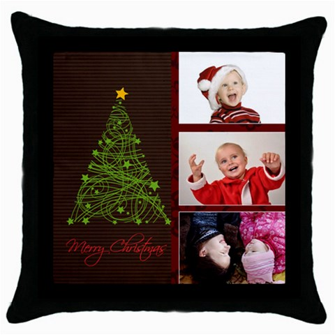 Xmas By Man   Throw Pillow Case (black)   M3r52a50z7qq   Www Artscow Com Front