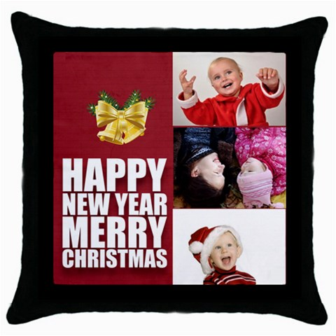 Xmas By Man   Throw Pillow Case (black)   82c9vcnhun54   Www Artscow Com Front