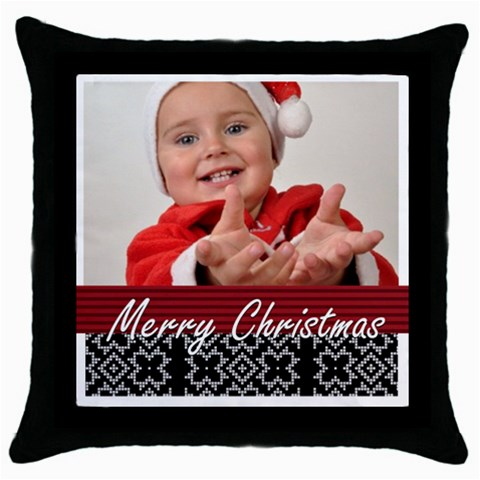 Xmas By Man   Throw Pillow Case (black)   Mzzzhmb3jcp8   Www Artscow Com Front