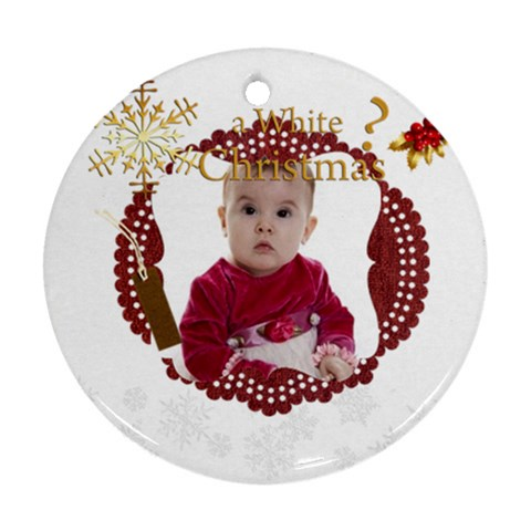 Xmas By Debe Lee   Ornament (round)   7dkpfqsml1cc   Www Artscow Com Front