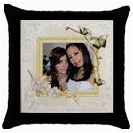 Butterfly Throw Pillow - Throw Pillow Case (Black)