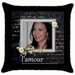 L Amour  Throw Pillow - Throw Pillow Case (Black)