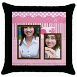 pink - Throw Pillow Case (Black)