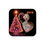 Sparkle Christmas Tree Square Coaster - Rubber Coaster (Square)