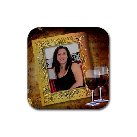 Red Wine On Square Coaster By Deborah   Rubber Coaster (square)   Leq761z9c431   Www Artscow Com Front