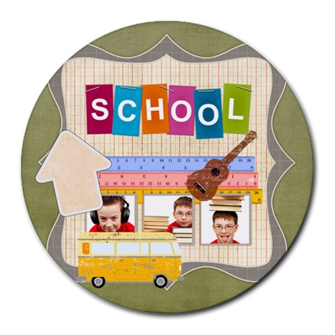 School By Jo Jo   Collage Round Mousepad   Zbxasox9ob13   Www Artscow Com 8 x8 Round Mousepad - 1
