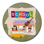 school - Collage Round Mousepad