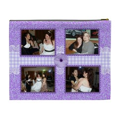 Purple Gingham And Lace Trim Cosmetic Bag (xl) 2 Sides By Kim Blair   Cosmetic Bag (xl)   Ki9lkf4o6eof   Www Artscow Com Back