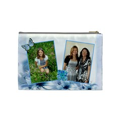Blue Floral Corner Cosmetic Bag Medium By Kim Blair   Cosmetic Bag (medium)   Vxokv442q4ho   Www Artscow Com Back