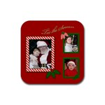 Red Christmas Coaster - Rubber Coaster (Square)