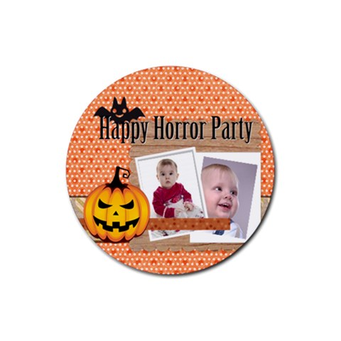 Halloween By Debe Lee   Rubber Round Coaster (4 Pack)   Pkvqg1a2wp92   Www Artscow Com Front