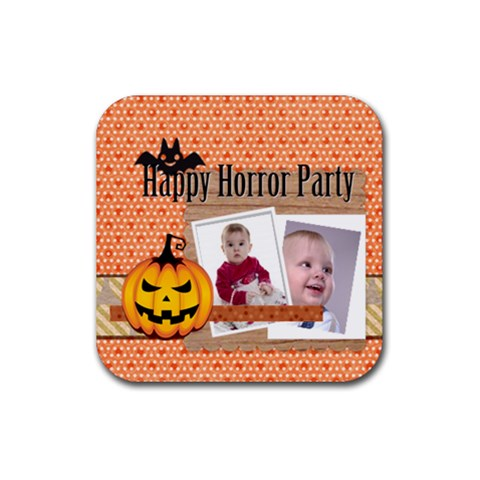 Halloween By Debe Lee   Rubber Square Coaster (4 Pack)   H4z3wwlvdid7   Www Artscow Com Front