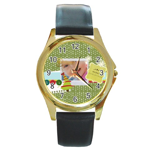 Xmas By Jo Jo   Round Gold Metal Watch   Yd7z4g8q1an1   Www Artscow Com Front
