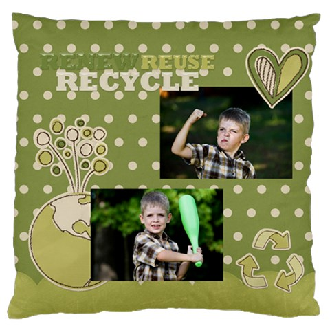 Green Kids By Angena Jolin   Large Cushion Case (one Side)   69w71508otm1   Www Artscow Com Front