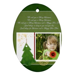 Christmas By Mac Book   Oval Ornament (two Sides)   Xv6qkwh2cloz   Www Artscow Com Front