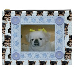 Yorkie Blue Cosmetic Bag (xxxl) By Kim Blair   Cosmetic Bag (xxxl)   8ezn4ue8jzt1   Www Artscow Com Front