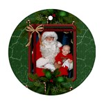 Green Christmas Round Ornament (2 Sides) - Round Ornament (Two Sides)
