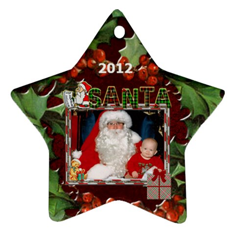 Santa Star Ornament (1 Sided) By Lil    Ornament (star)   Atc8uboza439   Www Artscow Com Front