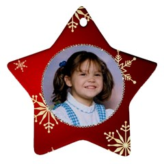 Red Snowflake Star Ornament By Kim Blair   Star Ornament (two Sides)   Nauleuexndik   Www Artscow Com Front