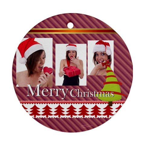 Christmas By M Jan   Ornament (round)   O05gzg0qmsf5   Www Artscow Com Front