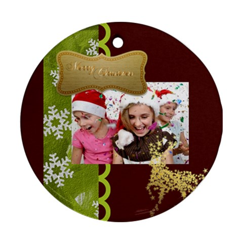Christmas By M Jan   Ornament (round)   Te76bnqo5h0w   Www Artscow Com Front