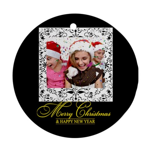 Christmas By M Jan   Ornament (round)   Nkxgrp7w28vp   Www Artscow Com Front