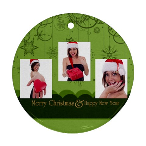 Christmas By M Jan   Ornament (round)   V76x3ldbn86q   Www Artscow Com Front