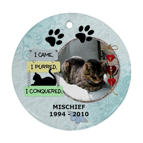 Cat Rememberance Ornament (1 Sided) By Lil    Ornament (round)   W4heh86u46bm   Www Artscow Com Front