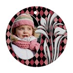 Pink Checker Round Ornament (2 sided) - Round Ornament (Two Sides)