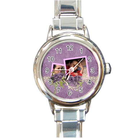Lavender Dream   Round Italian Charm Watch  By Picklestar Scraps   Round Italian Charm Watch   1ci54menf8vt   Www Artscow Com Front