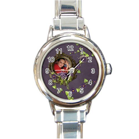 Lavender Dream   Round Italian Charm Watch  By Picklestar Scraps   Round Italian Charm Watch   Un5tenga7gl0   Www Artscow Com Front