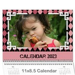 Pink Check Wall Calendar (any Year) 2017 - Wall Calendar 11  x 8.5  (12-Months)